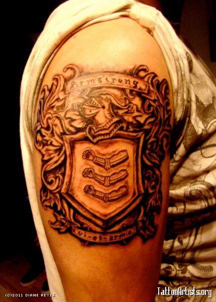 Armstrong Family Crest Tattoo On Shoulder