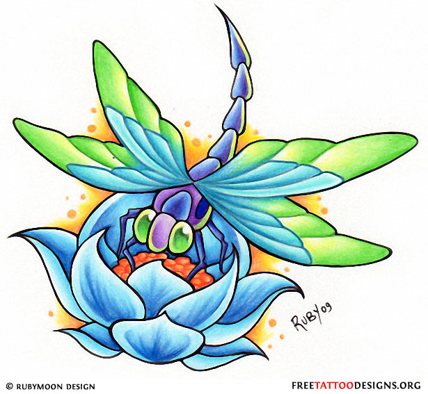 Attractive Dragonfly n Lotus Tattoo Design