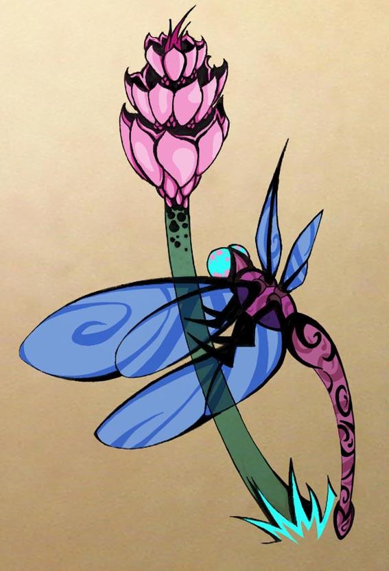 Attractive Dragonfly Tattoo Poster