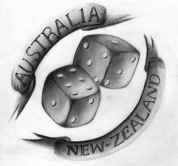 Australia New-Zealand Dice Tattoo Design