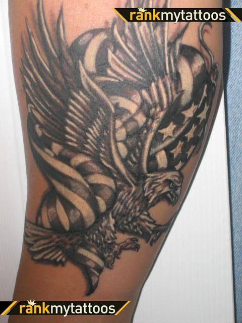 Bald Eagle With American Flag Tattoo Design
