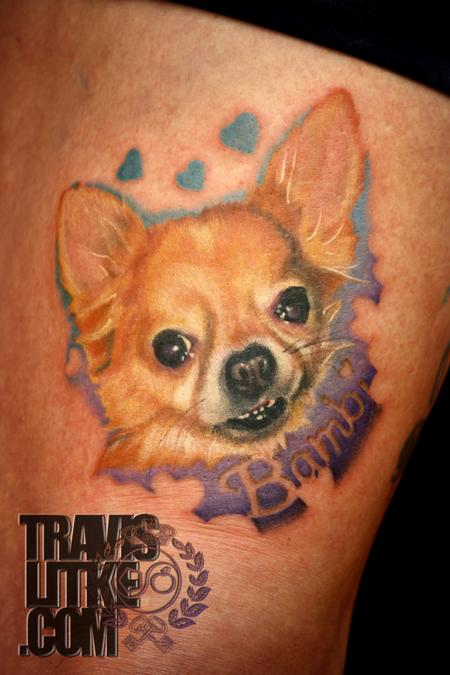 Bambi Realistic Color Portrait Chihuahua Dog Tattoo