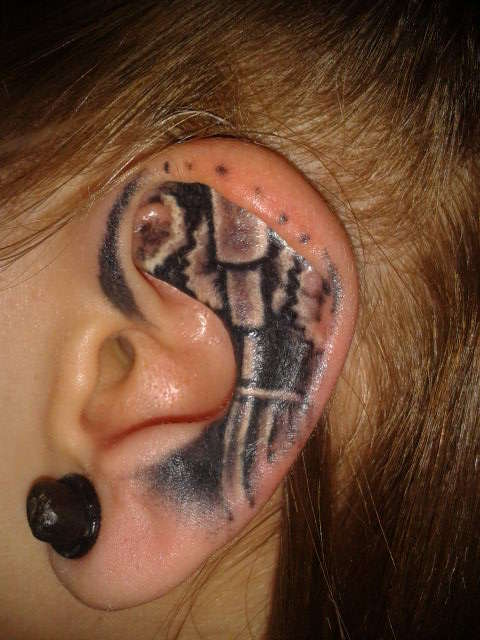 Bio Mech Ear Tattoo Design