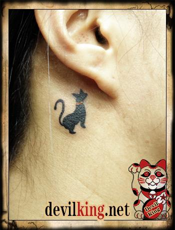 Black Cat Tattoo Below Ear