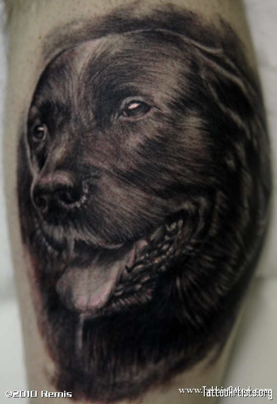 Black Dog Portrait Tattoo Design