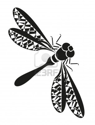 Black Dragonfly Tattoo Sample