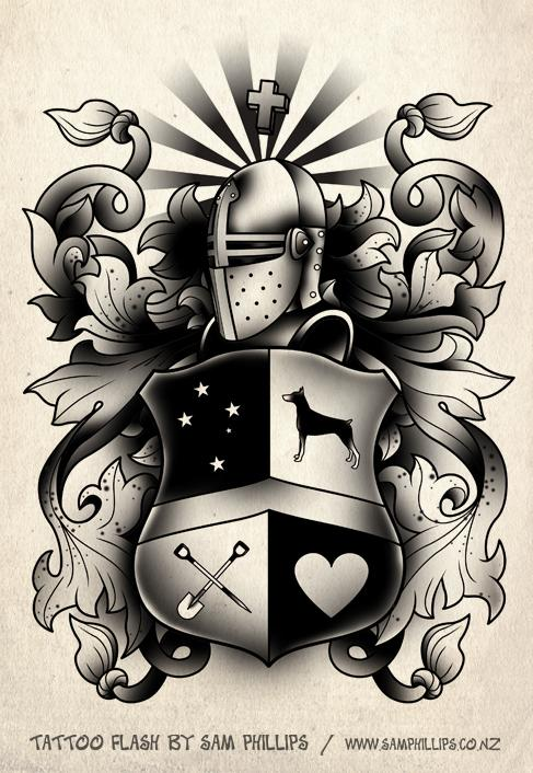 Black Family Crest Tattoo Poster