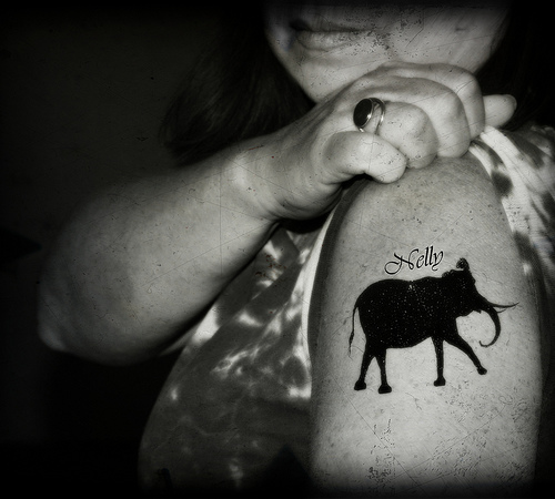 Black Ink Elephant Tattoo On Shoulder
