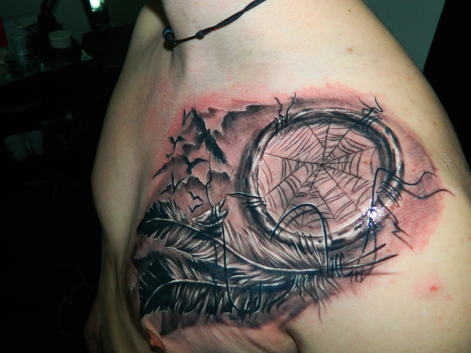Black n Grey Dream Catcher Tattoo On Shoulder