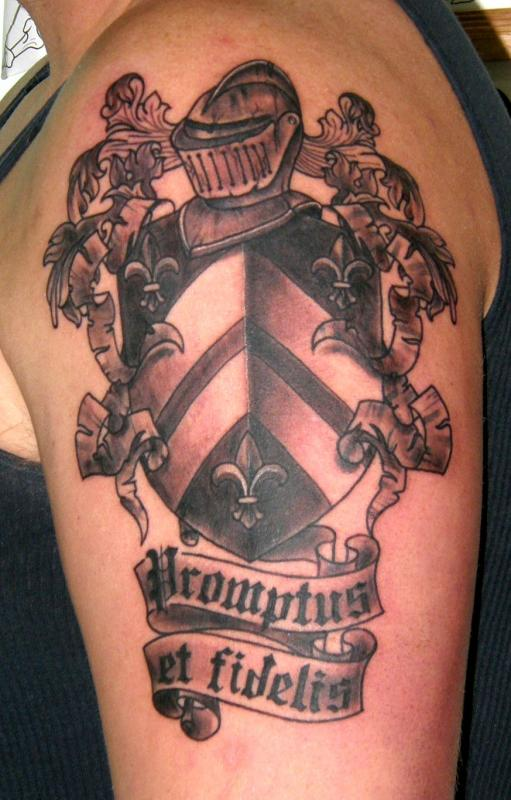 Black n Grey Family Crest Coat Of Arms Tattoo