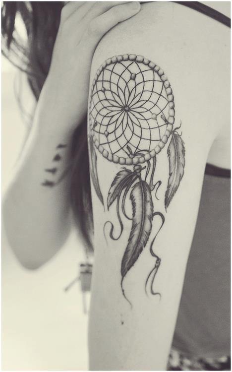 Black n White Dream Catcher Tattoo On Shoulder