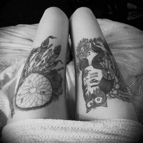 Black n White Dream Catcher Tattoo On Thigh