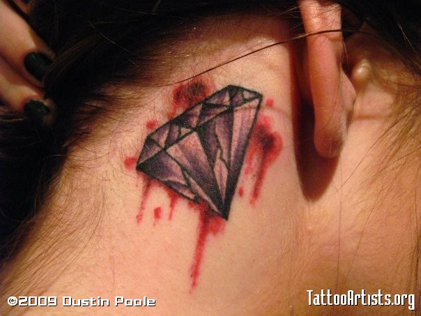 Bleeding Diamond Tattoo Behind Ear