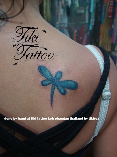 Blue Dragonfly Tattoo On Back Shoulder