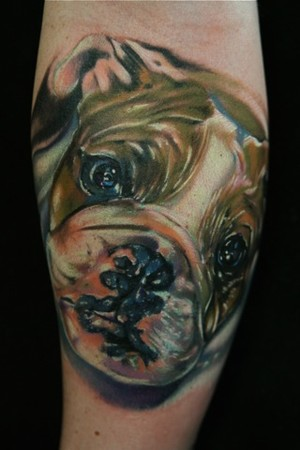 Bull Dog Puppy Color Tattoo Design
