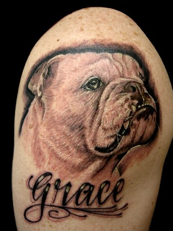 Bulldog Portrait Tattoo On Shoulder
