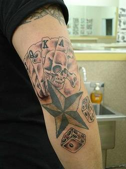 Cards Skull Star n Dice Tattoo On Elbow