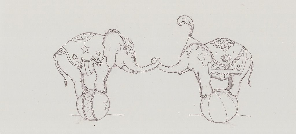 Circus Elephant Tattoo Drawing