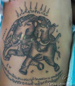Close Up Daniels Sak Yant Elephant Tattoo