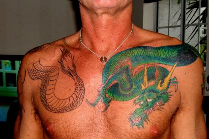 Color Dragon Tattoo On Chest