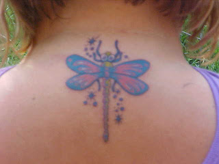 Colorful Dragonfly Tattoo On Neck Back