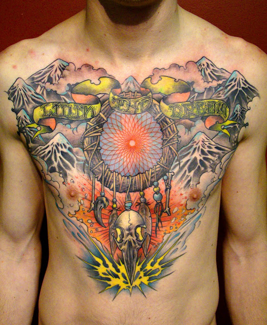 Colorful Dream Catcher Tattoo On Chest