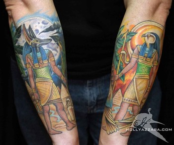 Colorful Egyptian Tattoo On Forearms