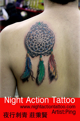 Colorful Feathers Dream Catcher Tattoo On Back Shoulder