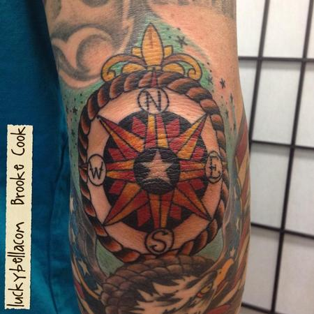 Compass Elbow Tattoo Design