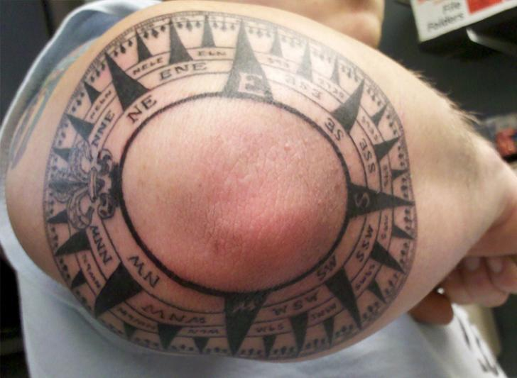 Compass Tattoo On Elbow