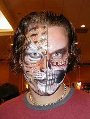 Cool Face Tattoo Design