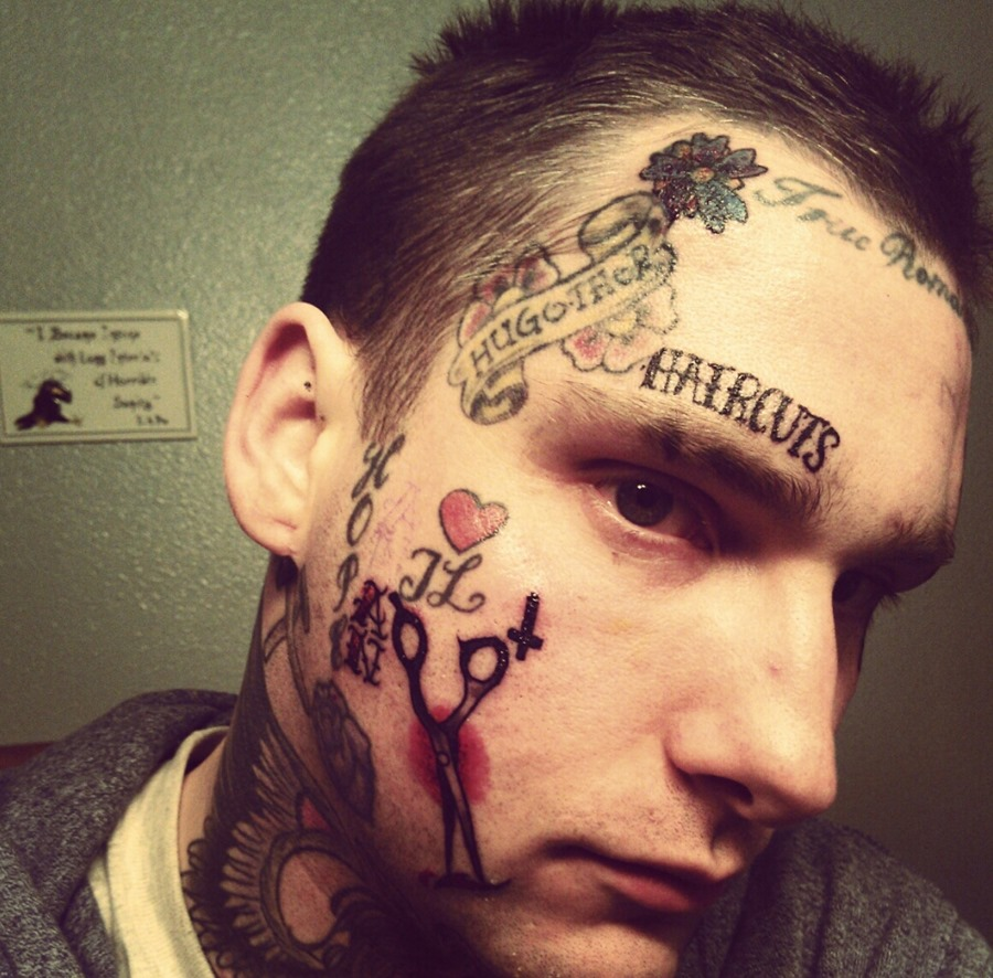 Crazy Tattoo On Man Face
