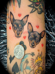 Cute Dog Face Tattoo Designs n A Coin