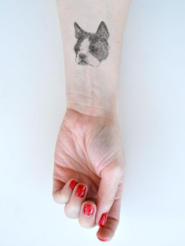 Cute Dog Face Tattoo On Wrist For Girls