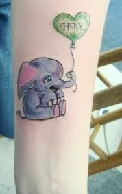 Cute Elephant With Heart Balloon Tattoo Design