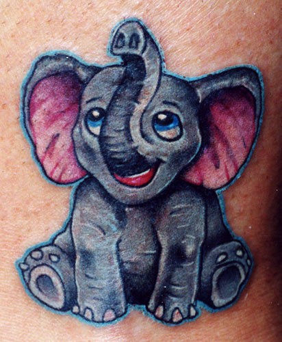 Cute Happy Elephant Tattoo Design