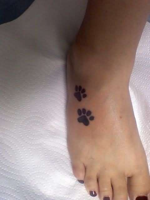Dog Paw Print Tattoo On Foot