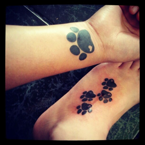 Dog Paw Prints Tattoo On Wrist n Foot