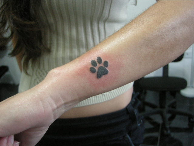 Dog Paw Tattoo On Wrist