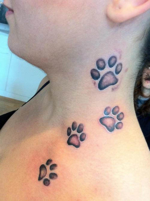 Dog Paws Tattoo On Neck