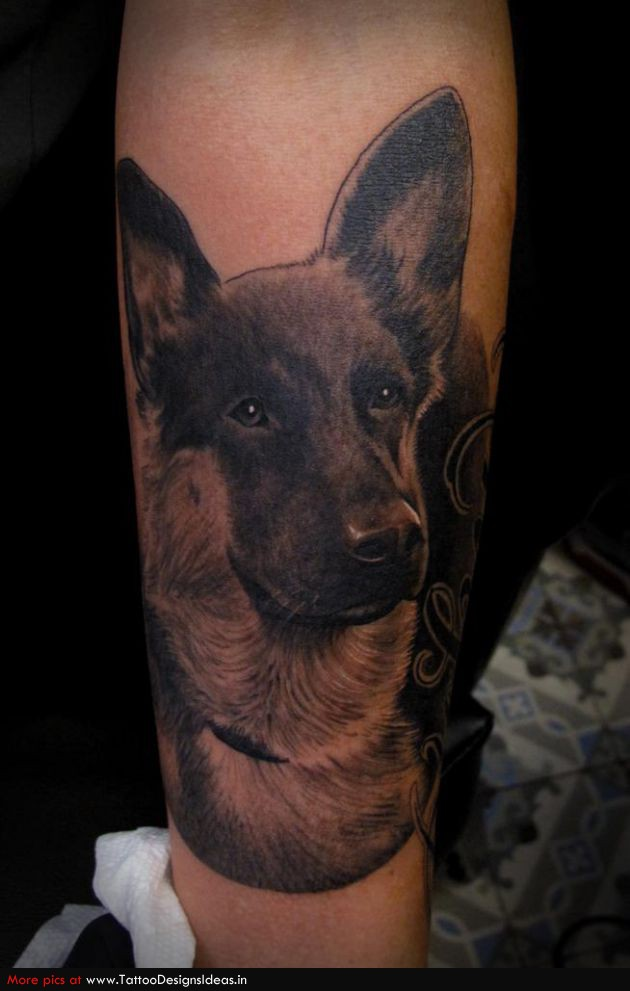 Dog Portrait Tattoo On Leg