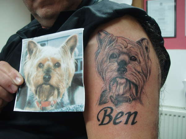 Dog Portrait Tattoo With Name