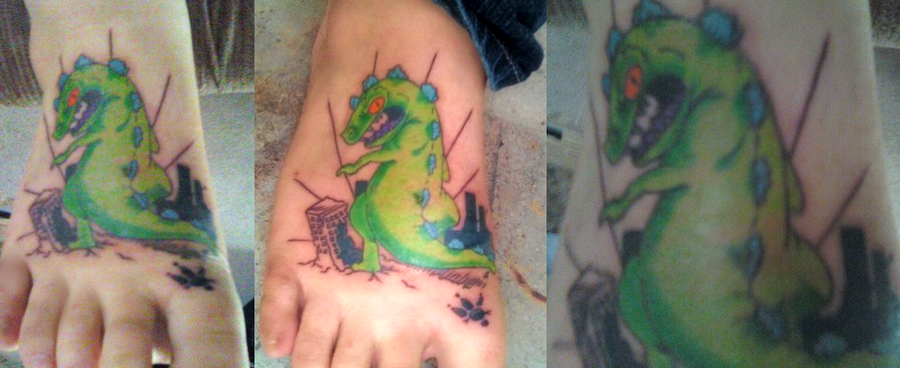 Dragon Animated Tattoo On Foot