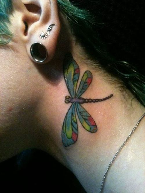 Dragonfly Tattoo On Neck
