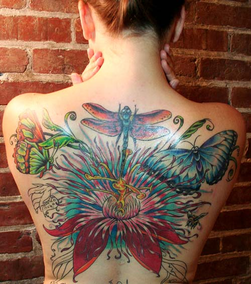 Dragonfly World Tattoo On Back Of Girl