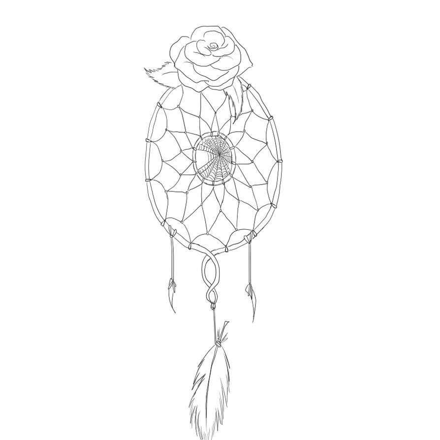 Dream Catcher Lineart Tattoo
