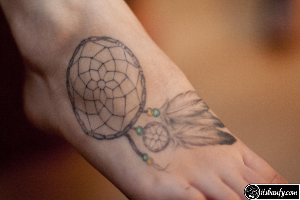 Dream Catcher Tattoo Design On Foot