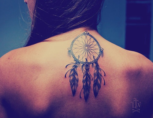 Dream Catcher Tattoo On Neck Back