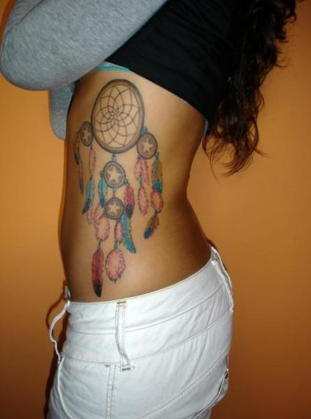 Dream Catcher Tattoo On Ribs For Girls