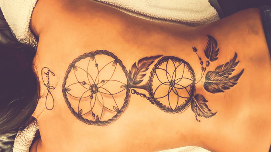 Dream Catcher Tattoo On The Owl Feather Dreamcatcher Tattoo